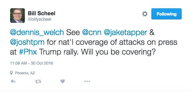Bill Scheel Tweets on Trump Rally Press Coverage