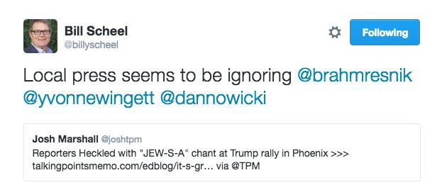 Bill Scheel Tweets Press Reactions Trump Rally